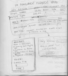 Based on that research I sketched another rough wireframe on paper, right, to translate this UI solution into something that could work for FreeFlow