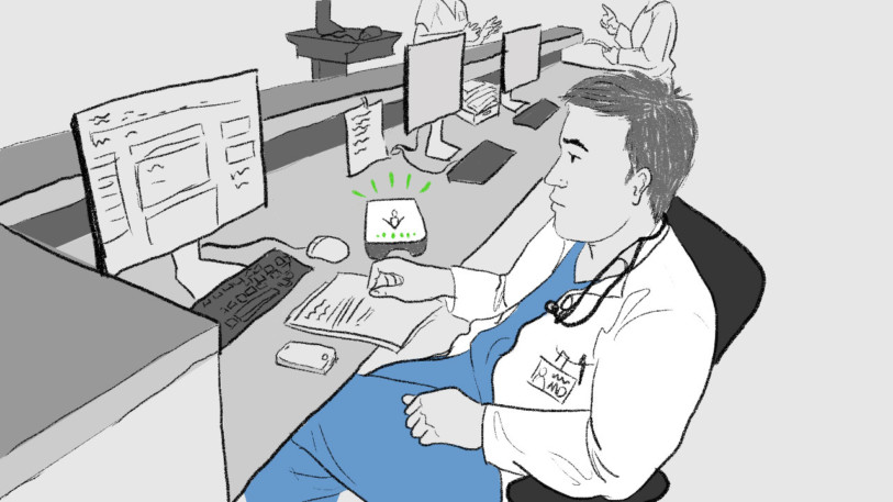 Drawing of physician in a nurse's station