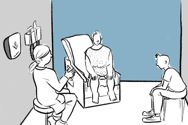 drawing of a doctor speaking to a patient and a family member in an ambulatory setting