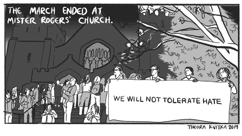 comic panel of a protest outside a church