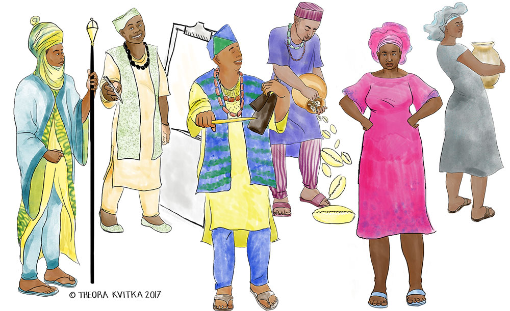 illustration of a group of people dressed in traditional Yoruba clothing