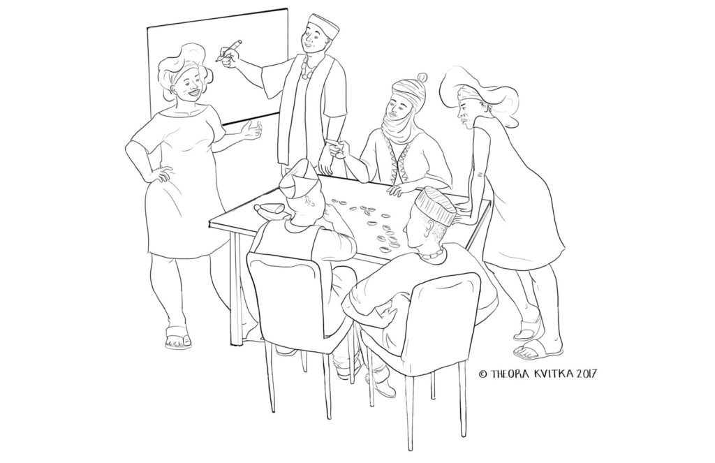 line drawing of people negotiating at a table